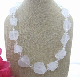 """Rough Silver Chain NZ - N040312 21"""" Natural 18MMx24MM White Crystal Rough Crystal Necklace"""