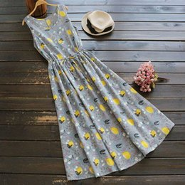 7e9564a1dc Summer Mori Girl Vintage Dress Women Clothing Floral Printing Round Neck  Sleeveless Cotton Linen Retro Sweet Tank Dresses U674