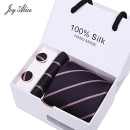 necktie boxes NZ - 2018 mens fashion tie set polyester silk neckties dot stripe black ties for men tie handkerchief cufflinks gift box packing
