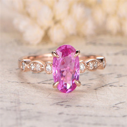 $enCountryForm.capitalKeyWord Australia - Pink Stone Rings for Women Wedding Engagement Gift Rose Gold Ring Crystal Ring Luxury Jewelry Bague Femme Anillos Mujer Z3D109