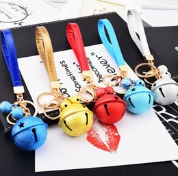 Diy Boys Toys UK - wholesale retail Lovely double bells Key Chain Accessories pu leather DIY bag Key Ring bell Car Keychain toy adult children gift