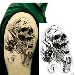 $enCountryForm.capitalKeyWord Canada - 1pcsSexy Black Death Skull Shoulder 3D Tattoo Waterproof Temporary Tattoos Men Henna Fake Tattoo Sleeve Arm Sticker For Body Art