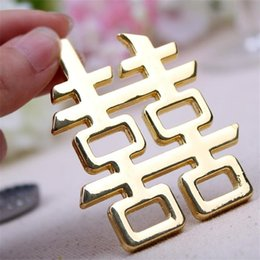 Wine Party Decorations NZ - Wedding Ceremony Marry Bottle Opener Gift Golden Red-Double Happiness Chinese Style Alloy Beer Wine Openers Party Decoration 5kk ff
