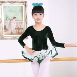 $enCountryForm.capitalKeyWord NZ - Gymnastic Leotards for Girls Kids Autumn Winter Long Sleeve Velvet Ballet Dance Tutu Skirt with Leotard Girl Dance Costumes 9089