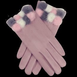 314bf6605 Suede glove men online shopping - Suede Gloves Woman Winter Mittens Lovely  Mink Ball Five Fingers