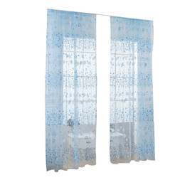 Sky Blue Curtains UK - Floral Tulle Window Sheer Rod Pocket Voile Curtains for Bedroom Living Room 100x200cm (Sky Blue)