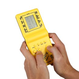 Discount handheld pocket games Gasky Classic Tetris Hand Held Electronic Game Toys Brick Game Riddle Handheld Games Players Console Pocket Toy Random C