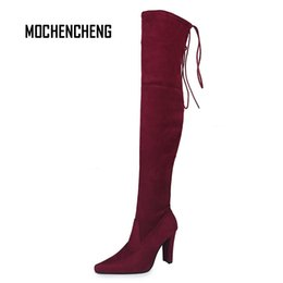 Wholesale Women Knee High Sexy Boots Winter Warm Cross tied Flock Upper Plush Lining Pointed Toe Thin Heels Female Ladies Rubber Boots