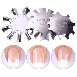 Venta al por mayor de 20X Easy French Line Edge Smile Cutter Nail Stencil Edge Trimmer Multi-tamaño Nail Manicure Nail Art Styling Tool Set