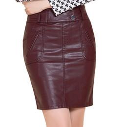 e311728255 Plus Size 5XL falda de cuero de cintura alta mujeres cuero de la PU Mini faldas  cortas Womens Jupe Femme señoras Bodycon lápiz falda C4712