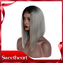 $enCountryForm.capitalKeyWord Australia - Hot Sexy Ombre Grey Short Bob Wigs For Black Women Short Straight Synthetic Lace Front Wigs Middle Part Heat Resistant 180% Density