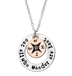 18k gold jewelry online shopping - Compass Necklace Letter not all who wander are lost Compass Pendant Necklace Inspirational Necklace Gifts Hollow Round Fashion Jewelry
