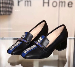 $enCountryForm.capitalKeyWord NZ - Square Toes Dress shoes Slip-on Woman's High heeled Pumps Rhinestone Chunky heel Button Patchwork single shoes Lady Loafer formal dress OL s