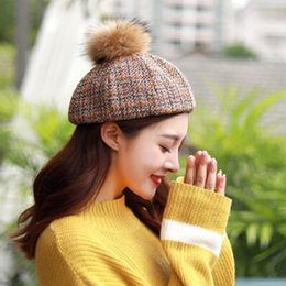 korean beret Canada - autumn winter beret vintage British painter hat Korean version of real fur bud hat lady grid pumpkin hat