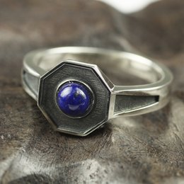 Discount lapis rings - Original Design 925 Sterling Silver Rings For Men and women With Natural Lapis Lazuli Stone Hexagon Shaped Elegant Jewel