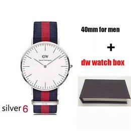Ingrosso 2018 famoso marchio Daniel donna uomo Wellington's WATCH moda cinturino in nylon stile 40mm argento mens orologi con scatola regalo relojes
