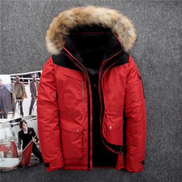 Green Fur Hooded Coat Mens Canada - Thick Down Parkas Mens Winter Coats Outdoor Down Jackets Real Fur Collar Warm Outwear Windbreakers 2018 Plus Size