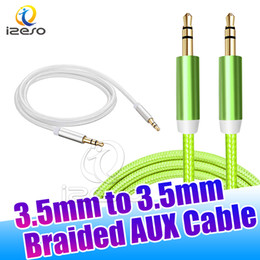 Tablets Rca For Canada - Nylon Braided AUX Audio Cable Adapter 3ft 1m Stereo Jack 3.5mm Male to Male Auxiliary Wire for Apple Android Phones Tablet Speakers