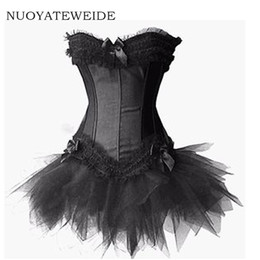 Wholesale black sexy corset dress costume for sale - Group buy 2017 Burlesque Red and Black Corset Dress Costume Bustier para mujer Victorian Brocade Corset Tutu Skirt Outfit Part Halloween
