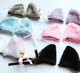 Discount cat ears mask - Orecchiette Party's Long Fur Bell Ears Kawaii Anime Fox Cat Neko Maid Costume Hair Clip Cosplay Halloween Party Con