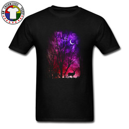 high collar shirts for men UK - Round Collar Top T-shirts For Men Fantasy Forest Deer Elk Moon Night Summer Autumn Tops T Shirt High Quality Cotton Tees