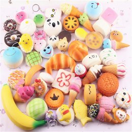rare squishies cell UK - Kawaii Squishies Bun Toast Donut Bread for cell phone Bag Charm Straps Wholesale mixed Rare Squishy slow rising lanyard scented100pcs
