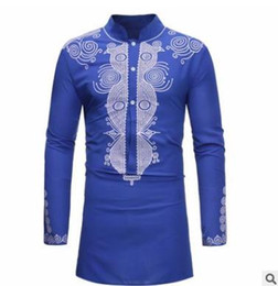 Wholesale fashionable long sleeve tops online – 2018 autumn mens shirt Fashionable African style print top Casual large size long sleeve collar shirt White black blue