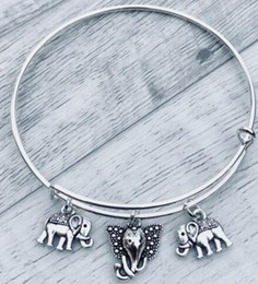 $enCountryForm.capitalKeyWord NZ - Vintage Silver Elephant Head Charms Expandable Wire Bracelet Bangles For Women Fashion Jewelry Crafts Adjustable Valentine's Accessories NEW