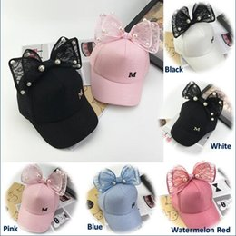 a7243623ad35d Fashion Summer Chic Baby Unisex Cute Lace Bowknot Bead Baseball Cap Sports  Sun Hat for Kids Boy Girls Travel Accessories 5 Color KC94