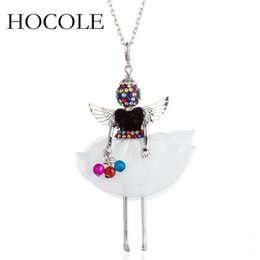 $enCountryForm.capitalKeyWord NZ - HOCOLE New Cute Black White Doll Long Chain Necklaces For Women Hot Sale Wings Girls Angel Pendant Metal Jewelry Fashion Gift