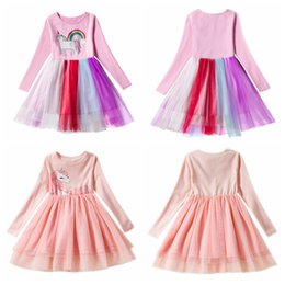 $enCountryForm.capitalKeyWord Australia - Kids Unicorn Dress Girl Dress Autumn Girl Long Sleeve Baby Dress Christmas Cartoon Lace Tutu Dresses Costume 2 Colors AAA1197