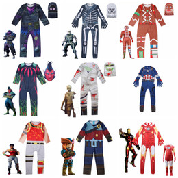 Wholesale Halloween Kids Show Costume Styles Cosplay Soldier Skeleton Gingerbread Man D Print Jumpsuits Child Tight Bodysuit sets OOA5818