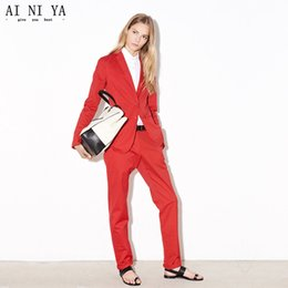 $enCountryForm.capitalKeyWord Canada - Red Women Business Work Suits With 2 Piece Jackets+Pants Ladies Formal Office Uniform Design Female Trouser Suit Custom Made