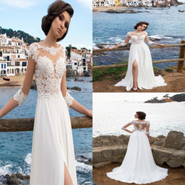 Weddings Dresses Slits NZ - 2018 New Chiffon Sheer Jewel Neck A-Line Wedding Dresses Illusion Long Sleeves Thigh-High Slits Summer Beach Bridal Gowns Formal Dresses