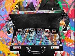 Sem Moldura / Maleta de Dinheiro, Alec Monopoly Pintura A Óleo, na Lona Graffiti arte decoração da parede, decoração de escritório, decoração comercial em Promoção