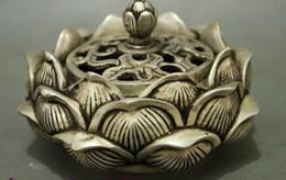 $enCountryForm.capitalKeyWord NZ - Old China Buddhism Silver Brass Lotus Shape Set Statue Box Incense Burner Censer