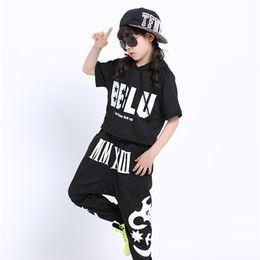 $enCountryForm.capitalKeyWord NZ - Black Hip Hop Dance Clothing Set For Kids Letter Print Girls Boys Hiphop Hoodie And Harem Sweatpant Two Piece Kids Streetwear