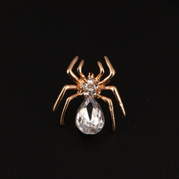 wholesale rhinestone brooches Australia - Gold Silver Rhinestone Spider Brooch Vintage Charms Crystal Wedding Brooch Pins Women Men Jewelry Gift