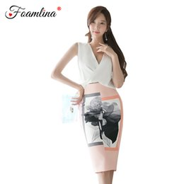610e7fc2b0f Foamlina 2018 New Korean Style Summer Two Pieces Sets Sleeveless White Top  + Empire Print Pencil Skirt Suits Women Clothing Sets