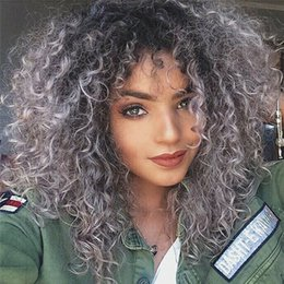 Gray ombre human hair wiG online shopping - Fashion Ombre Brazilian Human Hair B Gray Kinky Curly Virgin Human Hair Full Lace Wig for Black