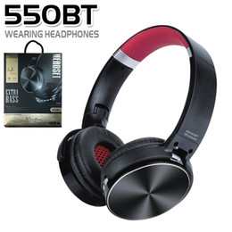 Black orange headphones online shopping - 550BT Wireless Headset Stereo Bluetooth Headphones Noise Cancelling Music Player with Mic Retractable Headband Support TF Card BT in Box