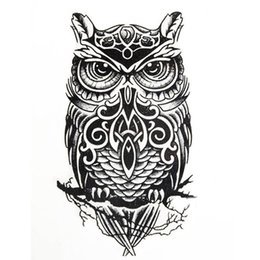 Hot temporary tattoos sexy online shopping - Large Black Owl Arm Fake Transfer Tattoo Stickers Temporary Tattoos Hot Sexy Men Women Spray Waterproof Designs