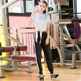 Sweat Yoga Pant Australia - Women Fitness Set Running Yoga Suit Running Suit Sweat-absorbent Workout Clothes Two-piece Gym Harem Pants Gym Clothing 8060
