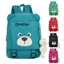 cute backpacks for high school NZ - Dropshipping School Bag High Quality Canvas Kids Backpack Cute Bear Toddler Children Bookbag With Bear Pendant For Boys Girls Y18110107