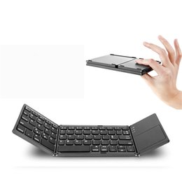 portable keyboard for android tablet Canada - Portable Twice Folding Bluetooth Keyboard BT Wireless Foldable Touchpad Keypad For IOS Android Windows Ipad Tablet