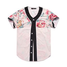 704337eec77be6 Wholesale Free Shipping Men Buttons Homme Baseball Jersey 3D Flower Digital  Printed Shirt Streetwear Tees Shirts Hip Hop Tops