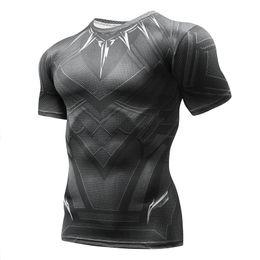 Superhero Shirts Wholesale Australia - Black Panther Superhero Winter Soldier 3D Printed T Shirt Men Crossfit Compression Running Shirt Men Sportswear Rashgard Man MMA