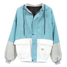5b73f43d1cbae Women Color Block Coat 2018 Fall Bomber Jacket Hooded Long Sleeve Zipper  Streetwear Casual Plus Size Outerwear Oversized Jacket