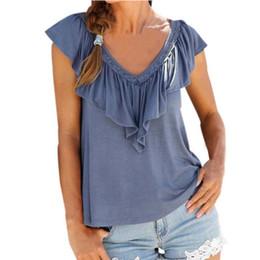 9cbcb65633acc8 2018 New Design Women Lotus Leaf V Neck Loose Short Sleeve Shirt Summer  Beach Casual Simple Top Blouse