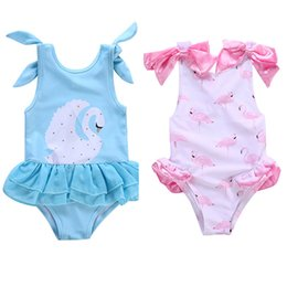 6t swimwear 2020 - Boutique children's swimwear 2018 summer blue swan bow pink flamingo bow girls cotton one-piece swimsuit H019 cheap